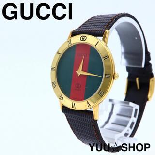 グッチ(Gucci)の電池新品【極美品】GUCCI 3001M シェリーライン メンズ 専用箱 腕時計(腕時計(アナログ))