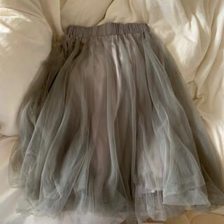 アンティックラグ(antic rag)の【antic rag】チュールスカート シルバー グレー(ひざ丈スカート)