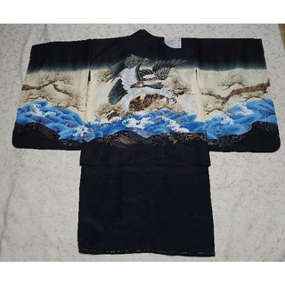(新品)  七五三  男児  ポリ  四つ身着物  アンサンブル 黒×黒 鷹(和服/着物)