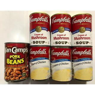 キャンベルスープ2種類とポークビーンズ(缶詰/瓶詰)