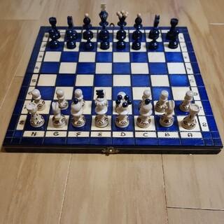 チェスセット チェス盤 駒 ボードゲーム アンティーク折り畳み盤  (オセロ/チェス)