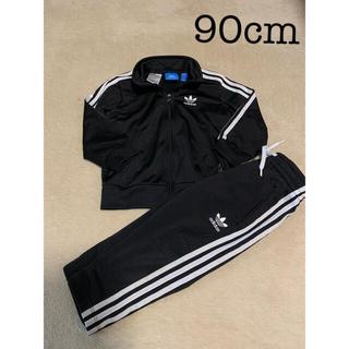 アディダス(adidas)のキッズ アディダスジャージ セットアップ 上下 黒 ブラック 90(Tシャツ/カットソー)