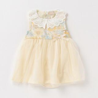 petit main - プティマイン 花柄チュール切替ワンピースロンパース 黄色 80cm