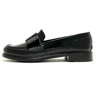 ハンター(HUNTER)のハンター UK 3 レディース 黒 リボン(ローファー/革靴)