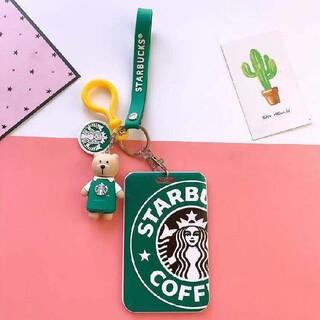 Starbucks Coffee - 新品 スターバックスベアリスタ キーホルダー ストラップ 定期券入れ 緑エプロン