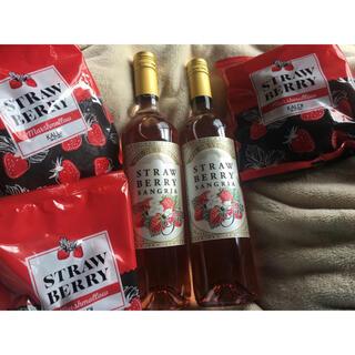 カルディ(KALDI)のタイムセール!カルディ  ストロベリーサングリア2本とマシュマロ3袋セット(ワイン)