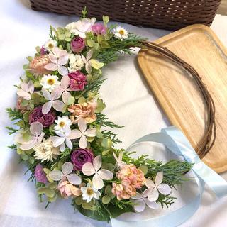 バラと紫陽花のピンクリース♡ドライフラワーリース(ドライフラワー)