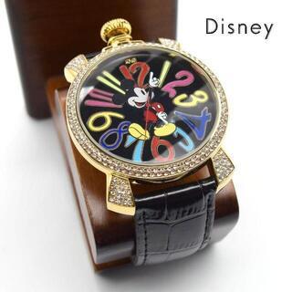 ディズニー(Disney)の《一点物》Disney 腕時計 ブラック ゴールドストーン ミッキーマウス(腕時計(アナログ))