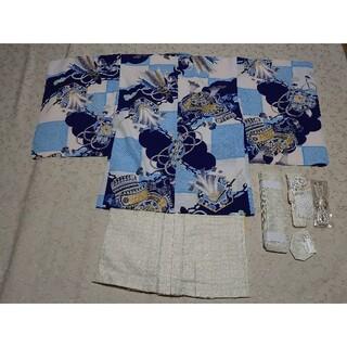 (新品)  男児  ポリ  四つ身着物  アンサンブル  袴付き 小物(和服/着物)