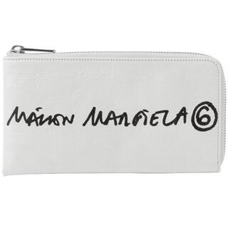 エムエムシックス(MM6)のMM6 メゾンマルジェラ 手書きタッチロゴ L字ファスナー 長財布 ホワイト (財布)