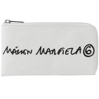 エムエムシックス(MM6)のMM6 メゾンマルジェラ 手書きタッチロゴ L字ファスナー 長財布 ホワイト(財布)