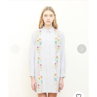 グラニフ(Design Tshirts Store graniph)のgraniph グラフィック シャツワンピース ストライプ 花柄(ひざ丈ワンピース)