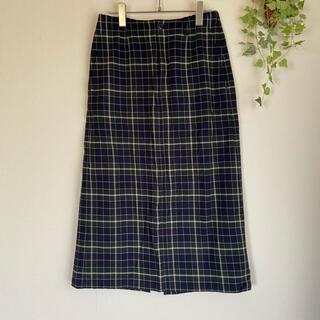 スタディオクリップ(STUDIO CLIP)のスタディオクリップ チェック柄スカート ゆったり ロングスカート グリーン(ひざ丈スカート)