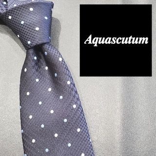 アクアスキュータム(AQUA SCUTUM)のアクアスキュータム ブランド ネクタイ 水玉 紺 白 水色 メンズ シルク 日本(ネクタイ)