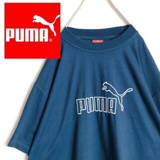 プーマ(PUMA)のプーマブルーグリーンビッグサイズTシャツサイズXL古着男子女子オーバーサイズ(Tシャツ/カットソー(半袖/袖なし))