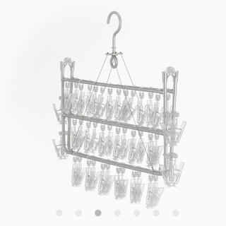 ムジルシリョウヒン(MUJI (無印良品))の【専用】MUJI アルミ角型ハンガー中・46ピンチ(押し入れ収納/ハンガー)