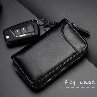 キーケース スマートキー カードケース レザー 車キーケースキーホルダー 黒