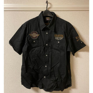 バンソン(VANSON)のバンソン VANSON 半袖 シャツ ワーク ワッペン 刺繍 ポパイ 黒 XXL(シャツ)