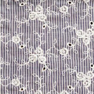 ⭐️SALE⭐️ブルー薔薇刺繍綿レース生地 96×30cm D(生地/糸)