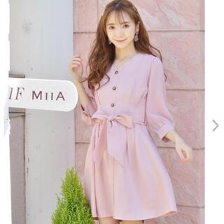 MIIA - 試着のみ★ミーア 袖シフォン七分袖ワンピース ピンク★