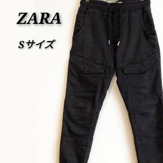 ザラ(ZARA)のZARAジョガーパンツ Sサイズ メンズ 黒(ワークパンツ/カーゴパンツ)