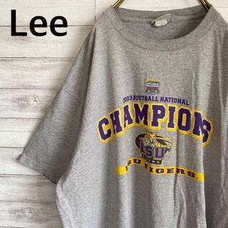 アイスクリーム(EYESCREAM)のLee リー Tシャツ 半袖 フットボール メンズXL グレー 古着(Tシャツ/カットソー(半袖/袖なし))