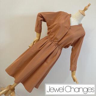 ジュエルチェンジズ(Jewel Changes)のジュエルチェンジズ スキッパーシャツワンピース ブラウン(ひざ丈ワンピース)