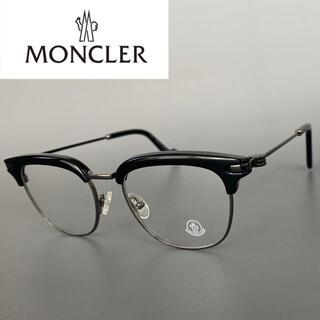 MONCLER - モンクレール ブラック サーモントブロー ハーフ セミリム メガネ ボストン