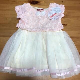 しまむら - 新品未使用 ワンピース ピンク レース  90㎝  重ね着風 プリンセス 半袖