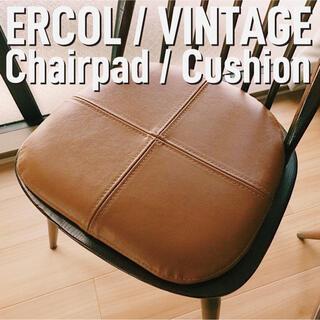 2枚セット ERCOL Vintage ChairPad 本革 チェアパッド(ダイニングチェア)