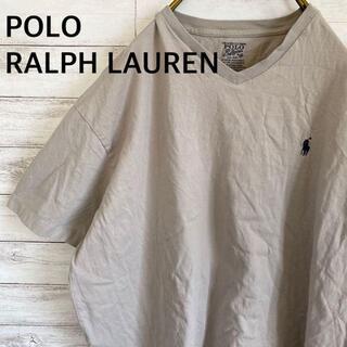 ポロラルフローレン Tシャツ 刺繍ロゴ ワンポイント メンズL ベージュ 古着