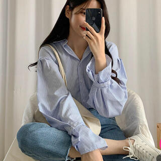 GOGOSING - sonyunara ブルーストライプシャツ