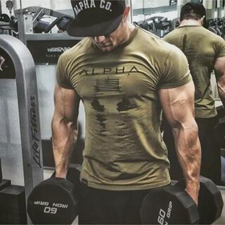 アルファ(alpha)のアルファ ジムtシャツ 半袖 細身 フィットネス トレーニング速乾性(Tシャツ/カットソー(半袖/袖なし))