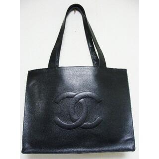 シャネル(CHANEL)のシャネルキャビアスキンレザーCCロゴマーク大きめトートセミ ショルダーバッグ鞄(トートバッグ)
