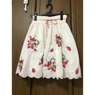 アンクルージュ(Ank Rouge)のLIZLISA 刺繍ブラウス AnkRouge ストロベリー 刺繍ローンスカート(ひざ丈スカート)