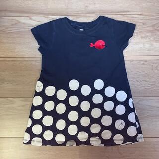 グラニフ(Design Tshirts Store graniph)のグラニフ ワンピース 半袖 100センチ きんぎょがにげた 水玉 ネイビー(ワンピース)
