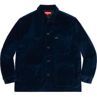 シュプリーム(Supreme)の新品 L Navy Supreme Velvet Chore Coat(カバーオール)