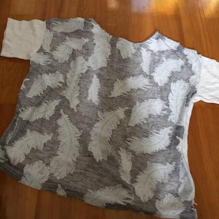 ブージュルード(Bou Jeloud)のブージュルード☆リネン混シースルーTシャツ♪羽根  V(Tシャツ(半袖/袖なし))