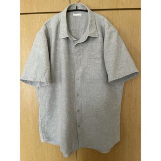 ジーユー(GU)のGUジーユー綿麻シャツコットンリネンシャツXLグレー半袖混合UNIQLO無印良品(シャツ)