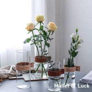 小 レザーフラワーベース ロング 花瓶 ブラウン ベージュ 17cm×7.5cm(花瓶)