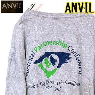 アンビル(Anvil)のANVIL カロライナ 英字 Tシャツ グレー 2XL USA古着 ビンテージ(Tシャツ/カットソー(半袖/袖なし))