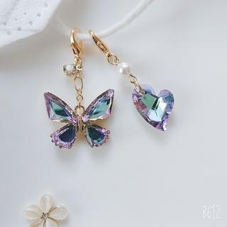 ブルー系オーロラ蝶々とガラスストーンハートのマスクチャーム №457