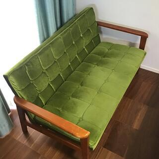 カリモクカグ(カリモク家具)のカリモク ソファー 2シーター 2人掛け モケットグリーン(二人掛けソファ)