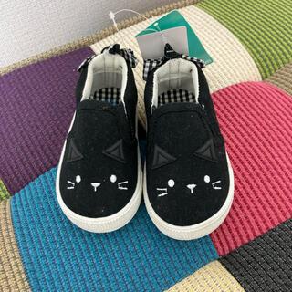 靴 女の子 12.5 新品 未使用 黒 猫(スリッポン)