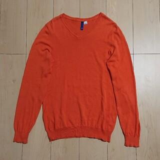 エイチアンドエム(H&M)のH&M ニット オレンジ Sコットン100%(ニット/セーター)