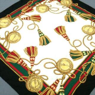 ロンシャン(LONGCHAMP)のロンシャン - 黒×グリーン×マルチ(バンダナ/スカーフ)