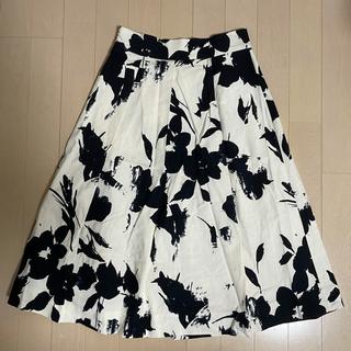 ZARA - ZARA モノトーンミモレ丈花柄スカート