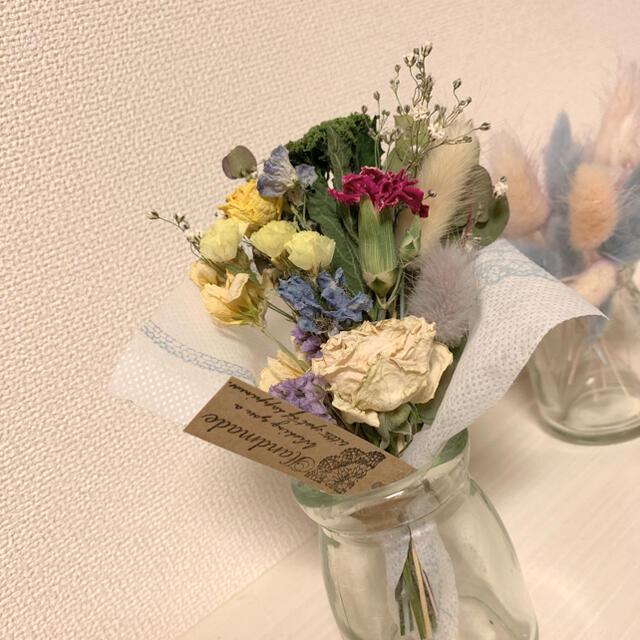 ドライフラワー 春色スワッグ ブーケ 花束 インテリア ハンドメイドのフラワー/ガーデン(ドライフラワー)の商品写真