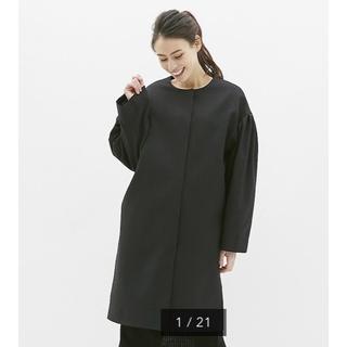 ジーユー(GU)の新品 GU ボリュームスリーブコート ブラック S 黒 Black   (スプリングコート)