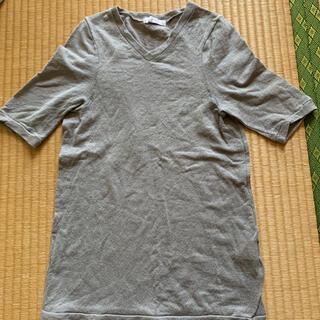 アバハウスドゥヴィネット(Abahouse Devinette)のAbahouse  Devinette 半袖麻ニット グレー(カットソー(半袖/袖なし))